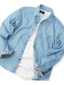 MEN'S BIGI ハニカムジャージシャツ メンズ ビギ シャツ/ブラウス 長袖シャツ ブルー ネイビー【送料無料】