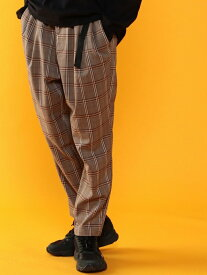 coen TRストレッチチェックツータックライトサルエルパンツ(UTILITYLINE) コーエン パンツ/ジーンズ フルレングス グレー【送料無料】