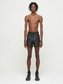 DRESSEDUNDRESSED Faux Leather Shoelace Shorts シーナウトウキョウ パンツ/ジーンズ ショートパンツ ブラック【先行予約】*【送料無料】
