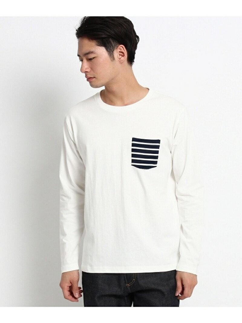 BASECONTROL ポケット ボーダー 長袖Tシャツ(メンズ Tシャツ) ベース ステーション カットソー