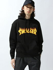 【SALE/35%OFF】SWAGGER FIRE PATTERN PULL スワッガー カットソー パーカー ブラック【RBA_E】【送料無料】