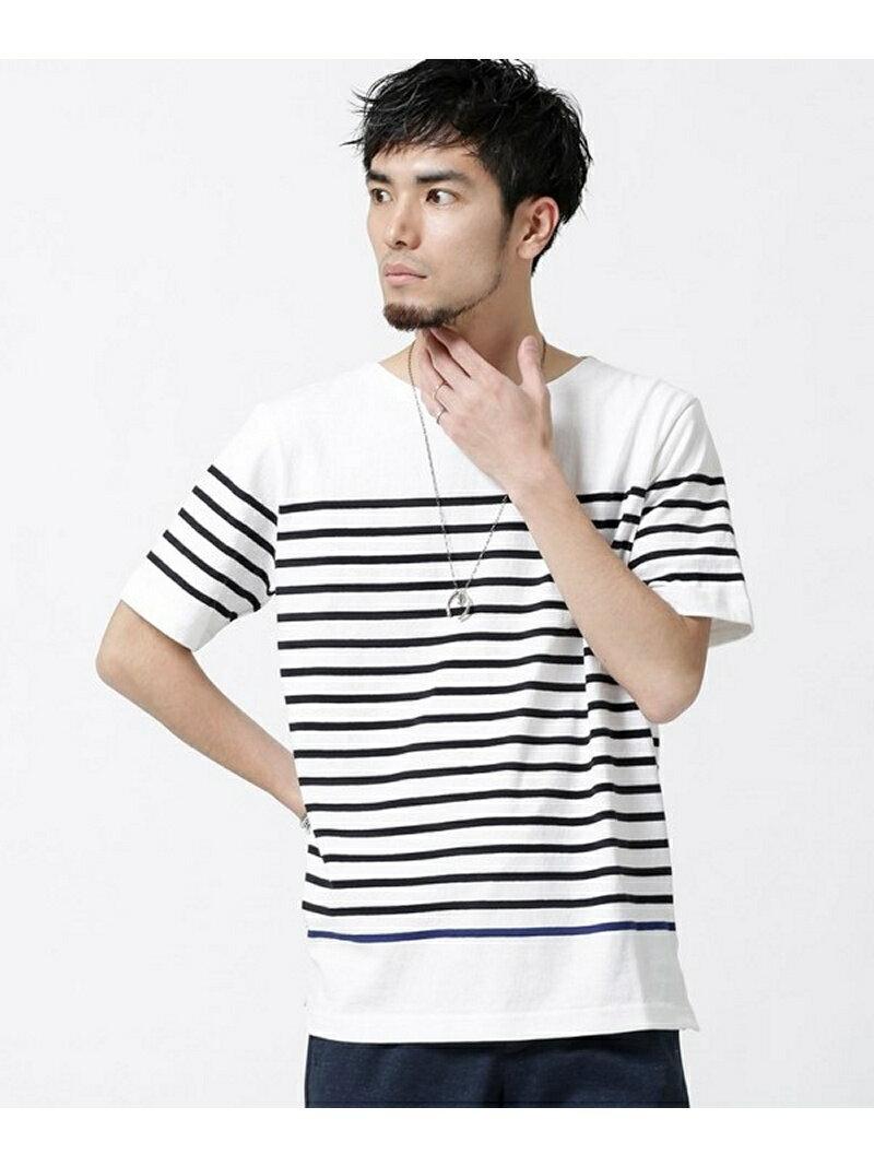 【SALE/40%OFF】nano・universe 米綿パネルボーダーTシャツ ナノユニバース カットソー【RBA_S】【RBA_E】