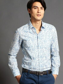 MONSIEUR NICOLE フラワープリントシャツ ニコル シャツ/ブラウス 長袖シャツ ブルー パープル【送料無料】