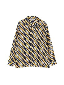【SALE/50%OFF】TORNADO MART BLUETORNADO∴バイアス幾何学柄オープンカラー長袖シャツ トルネードマート シャツ/ブラウス 長袖シャツ イエロー グリーン【RBA_E】