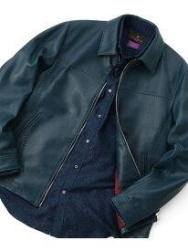 MEN'S BIGI ラムレザーシングルライダースジャケット メンズ ビギ コート/ジャケット ライダースジャケット/レザージャケット ブルー ベージュ ブラック【送料無料】