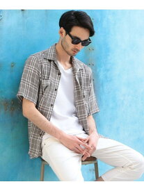 RATTLE TRAP チェック柄オープンカラーシャツ メンズ ビギ シャツ/ブラウス 長袖シャツ カーキ ブラック【送料無料】