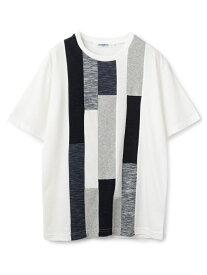 UNION STATION 異素材切替デザインTシャツ メンズ ビギ カットソー Tシャツ ホワイト ネイビー【送料無料】