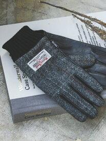 BEAMS MEN BEAMS / ハリスツイード レザー グローブ 19AW ビームス メン ファッショングッズ 手袋 グレー ネイビー ブラウン【送料無料】