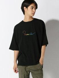 CORISCO CORISCO/(M)レインボーシシュウTEE サンコーバザール カットソー Tシャツ ブラック グリーン ネイビー ホワイト グレー
