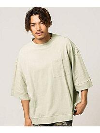 CavariA CavariAポケット付きビッグシルエットクルーネック半袖Tシャツ シルバーバレット カットソー Tシャツ ベージュ ブラック ブルー ブラウン ネイビー