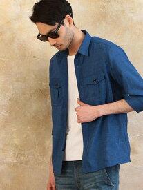RATTLE TRAP 七分袖ミリタリーシャツブルゾン メンズ ビギ シャツ/ブラウス 長袖シャツ ブルー ネイビー グレー【送料無料】