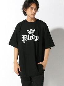 【SALE/30%OFF】Pledge 【6】 BIGクラシックロゴTシャツ レアリゼ カットソー Tシャツ ブラック ホワイト【RBA_E】【送料無料】