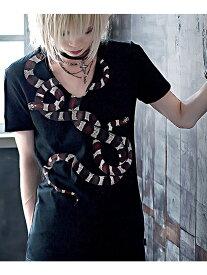 CIVARIZE CIVARIZEHatredスネークVネックTシャツ シルバーバレット カットソー Tシャツ ブラック【送料無料】
