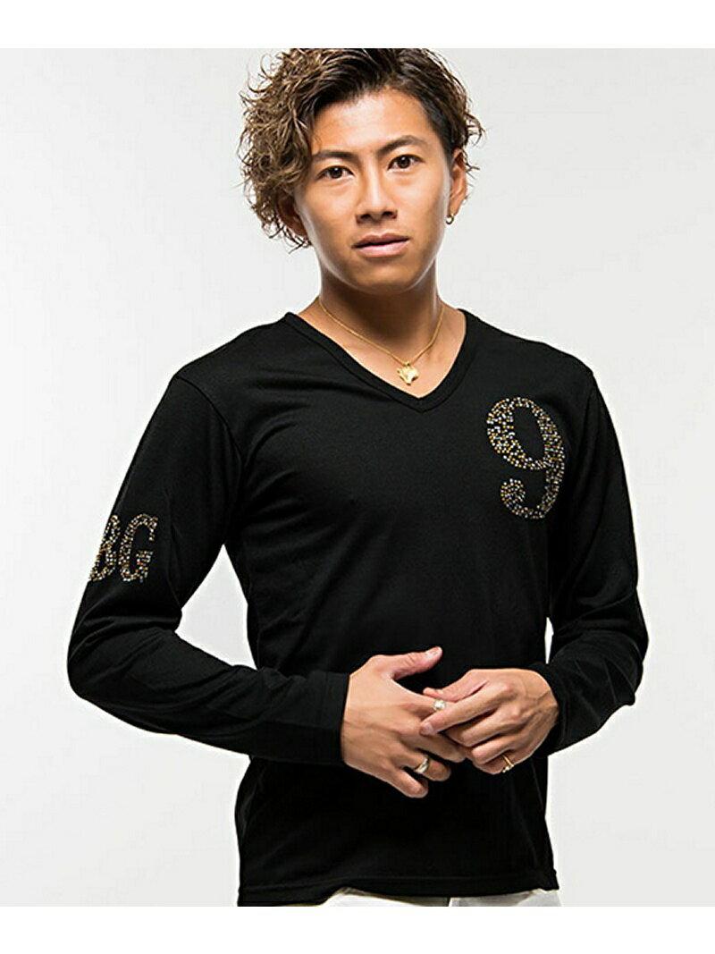 CavariAライトストーンナンバリングVネック長袖Tシャツ シルバーバレット カットソー【送料無料】