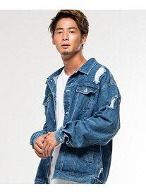 CavariAダメージ加工ビッグシルエットデニムジャケット シルバーバレット コート/ジャケット【送料無料】