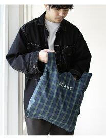 BEAMS MEN BEAMS / チェック ショップ バッグ ビームス ショッパー ユニセックス エコバッグ マルシェバッグ コンパクト プレゼント ギフト 携帯 ナイロン 買い物 ロゴバッグ トラッド プレッピー