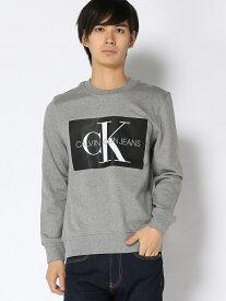 【SALE/50%OFF】Calvin Klein Jeans (M) カルバンクライン モノグラム ボックスロゴ スウェット カルバン・クライン カットソー スウェット グレー グリーン ネイビー【RBA_E】【送料無料】