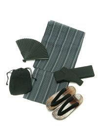 ALASKO シジラ浴衣 5点セット アラスコ ビジネス/フォーマル 着物/浴衣 ネイビー ブラック グレー ホワイト【送料無料】