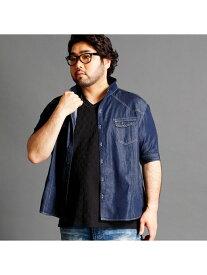 【SALE/50%OFF】HIDEAWAYS(大きいサイズ) スタンドカラーデニムシャツ ニコル シャツ/ブラウス【RBA_S】【RBA_E】【送料無料】