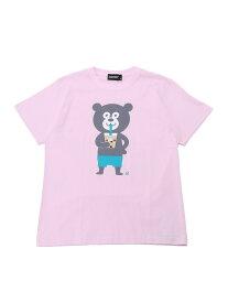 BEAMS T The Wonderful! design works / タピオカ Bear Tee ビームスT カットソー Tシャツ ピンク ホワイト【送料無料】