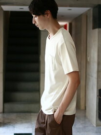 【SALE/50%OFF】koe Men's オーガニックコットンVネックポケTEE コエ カットソー Uネックカットソー ホワイト グレー ブラック ブラウン【RBA_E】