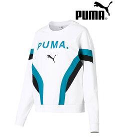 プーマ CHASE ウィメンズ LS トップ PUMA レディース トップス トレーナー トップス スウェット ロゴ|579213 正規品 2019SS Tシャツ スエット プルオーバー カットソー 長袖 ビッグシルエット ホワイト ブラック ブルー