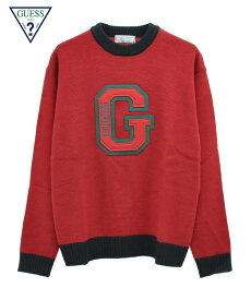 GUESS GREEN LABEL ゲス グリーンレーベル セーター GUESS PATCH KNIT ワイン MJ4S8326IA メンズ トップス 長袖 ニット パッチワーク 送料無料