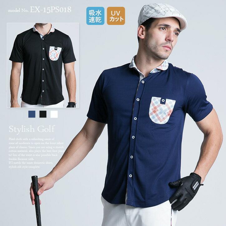 エクセランゴルフ Excellent Golf ゴルフウェア メンズ ゴルフウェア 春 スポーツウェア メンズ ファッション おしゃれ ポロシャツ ゴルフポロ 吸水速乾 UVカット 半袖