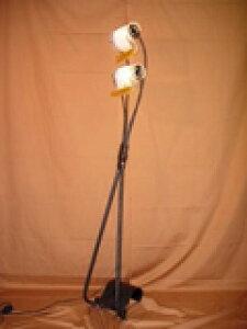 フロアランプ ルームライト インテリア照明スタンドライト フロアライト アンティーク調照明2灯ガラスシェード フットスイッチ付