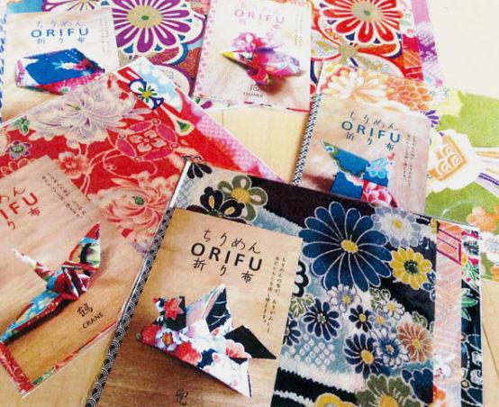 ちりめん【ORIFU】折り布3枚アソートセット(英訳付の折り方説明書入り)一越/縮緬/折り紙/おりがみ/和布/つまみ細工/ラッピング/ちりめん細工