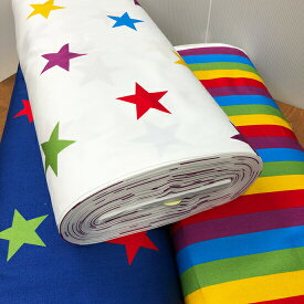 Five Color Star-Stripe ツイル生地/5色の星柄とストライプ生地/大きな星と9パターンリピートのストライプ生地星柄/ストライプ柄