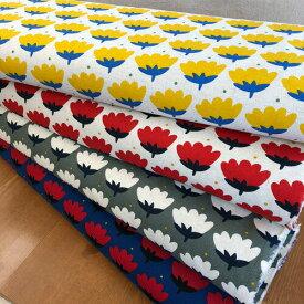 <<LE DEPART>>シリーズファブリック綿麻キャンバス生地【flower】プリント柄。北欧テイストのかわいい生地です。/コットンリネン/花柄/チューリップ