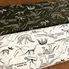 <<キッズプリント>>シリーズ生地/恐竜化石柄の生地です/オックス生地/男の子/入園入学/スモック/レッスンバッグ/シューズバッグ/巾着袋/Cotton Pretty Print/きょうりゅう/ダイナソー/N21