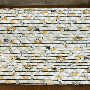 キルティングサンリオキャラクター生地/『ピーナッツ』スヌーピーボーダー柄の半針キルト生地/男の子/女の子/入園入学/レッスンバッグ/シューズバッグ/巾着袋/SANRIO/PEANUTS/SNOOPY/N20