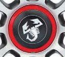 アバルト純正オプション ホイールセンターキャップ[赤フチ・黒地・シルバースコーピオン](500/595)