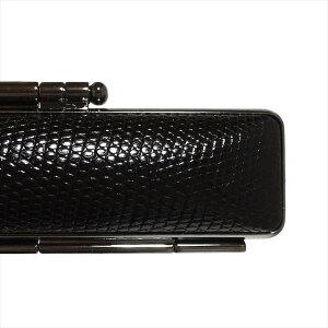 本トカゲ皮印鑑ケース 黒色(ブラック)直径13.5ミリ長さ60ミリ用黒色枠 赤別珍 鶴亀刺繍 朱肉付超高品質 個人用印鑑入れ 日本製実印 銀行印 認印用はんこケース