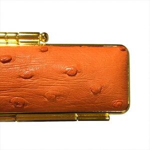 天然オーストリッチ印鑑ケース直径15ミリ長さ60ミリ用オレンジ(橙色) 両面ゴールド枠 波扇刺繍 赤別珍 朱肉付き超高品質 個人用印鑑入れ 日本製実印 銀行印 認印用 はんこケース かわいい