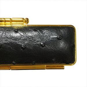 天然オーストリッチ印鑑ケース直径16.5ミリ長さ60ミリ用ブラック(黒色) 両面ゴールド枠 鶴亀刺繍 エンジ別珍 朱肉付き超高品質 個人用印鑑入れ 日本製実印 銀行印 認印用 はんこケース か