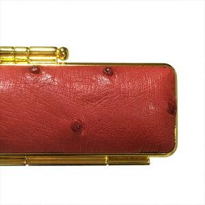 天然オーストリッチ印鑑ケース直径13.5ミリ長さ60ミリ用レッド(赤色) 両面ゴールド枠 波扇刺繍 赤別珍 朱肉付き超高品質 個人用印鑑入れ 日本製実印 銀行印 認印用 はんこケース かわいい