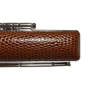 STニュートカゲ印鑑ケース茶(ブラウン)直径16.5ミリ長さ60ミリ(16.5mm×60mm用)内側 臙脂別珍(エンジベッチン)朱肉付 銀枠ハンコは別売りです印鑑 はんこ ハンコ 実印 銀行印 認印 男性 女性用