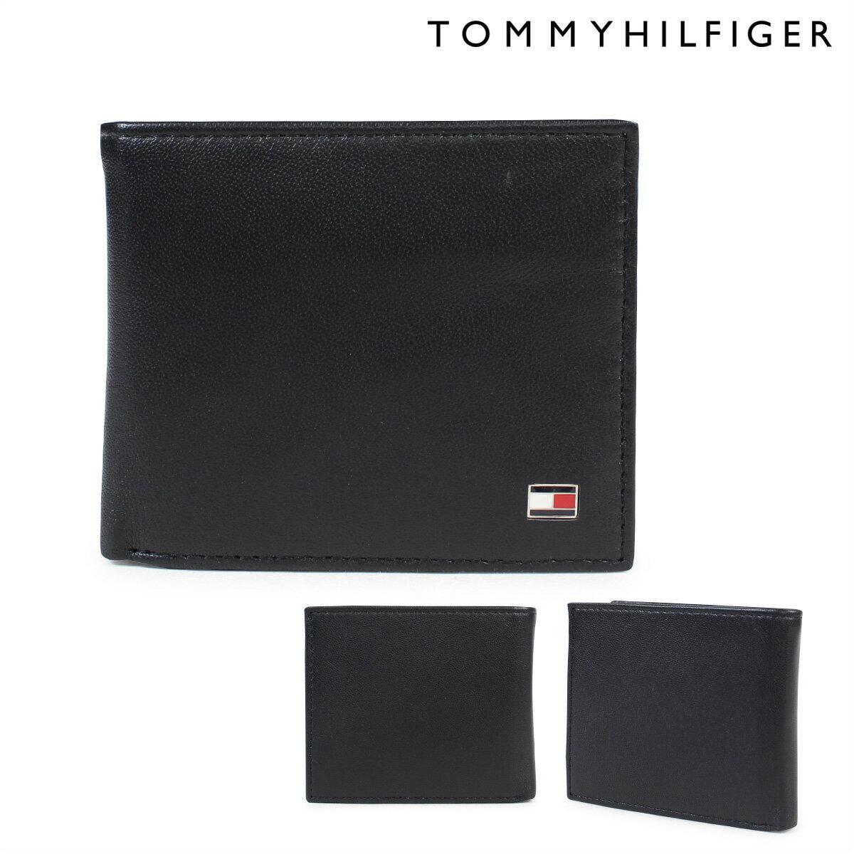 TOMMY HILFIGER 財布 トミーヒルフィガー 二つ折り財布 メンズ レザー OXFORD BI-FOLD WALLET 96-4511 31TL25X003 ブラック [6/12 追加入荷]