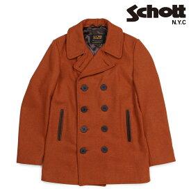 【10%OFF!決算SALE!】 Schott ショット ピーコート Pコート コート メンズ HEATHERED WOOL PEACOAT ブラウン 762N