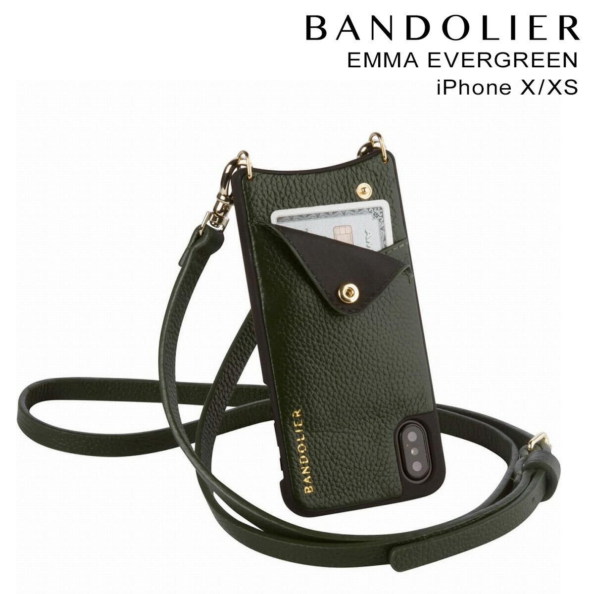 バンドリヤー BANDOLIER iPhoneXS X ケース スマホ アイフォン EMMA EVERGREEN レザー メンズ レディース