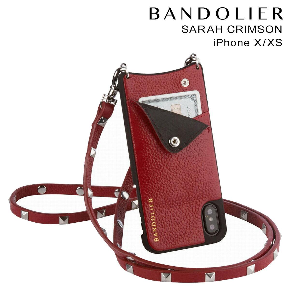 バンドリヤー BANDOLIER iPhoneXS X ケース スマホ アイフォン SARAH CRIMSON レザー メンズ レディース