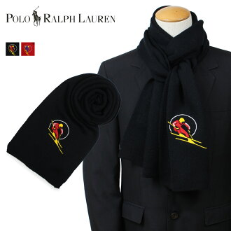 POLO RALPH LAUREN polo Ralph Lauren scarf men wool RETRO SKIER SCARF black black red red PC0278