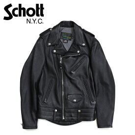 Schott ショット ジャケット ライダースジャケット メンズ MEN NATURAL PEBBLE COWHIDE MOTORCYCLE LEATHER JACKET ブラック 黒 525