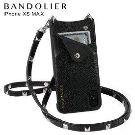 バンドリヤー BANDOLIER iPhone XS MAX ケース スマホ 携帯 ショルダー アイフォン レザー SARAH SILVER メンズ レディース ブラック 10SAR1001