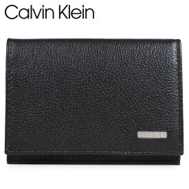 Calvin Klein カルバンクライン 名刺入れ カードケース メンズ レザー LOGO PLATE CARD CASE ブラック 黒 79218 [5/27 再入荷]