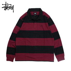STUSSY ステューシー ラガーシャツ ポロシャツ メンズ 長袖 RALPHIE STIRPE LS RUGBY ブラック 黒 1140120