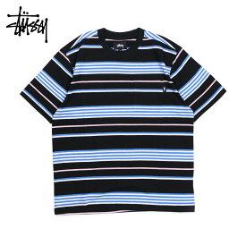 STUSSY ステューシー Tシャツ メンズ 半袖 クルーネック THOMAS STRIPE CREW ブラック 黒 1140123